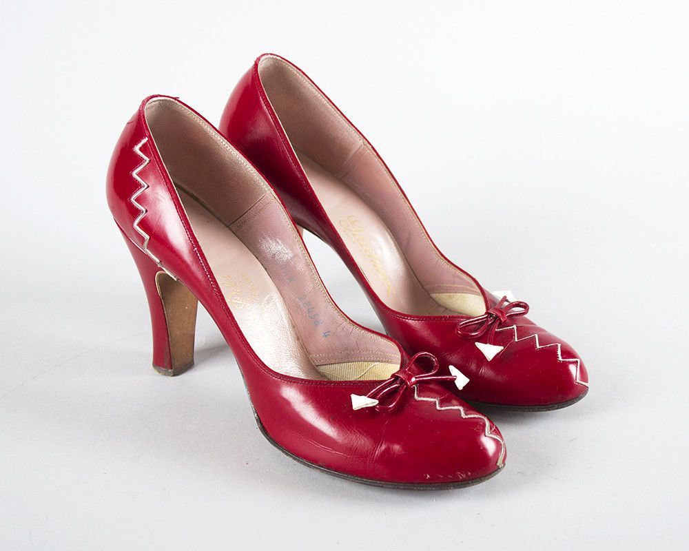 Vintage 1940s Shoes 40s Leather Red Zig Zag Babydoll Dorothy High Heels Sz 7 7 5 Heels 1940s Shoes 1950s Shoes Vintage Shoes