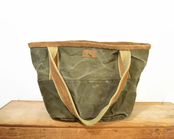 29d829e0867 Vintage Extra Large Army Green Duffle Canvas and Brown Leather Tote Bag    Weekend Bag   Utility Bag This is a great, extra large weekend size tote bag