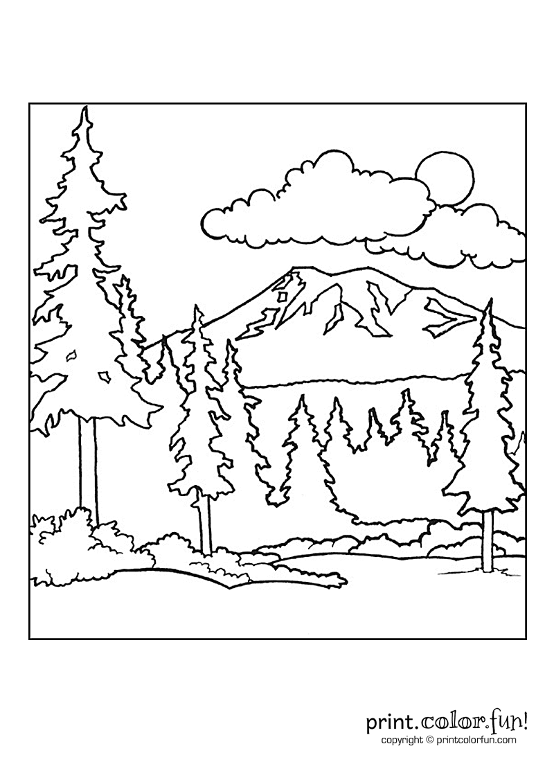 Color In This Beautiful Scene Of A Landscape Showing A Mountain Sky And Forest The Free Printable Coloring Pages Forest Coloring Pages Free Coloring Pages