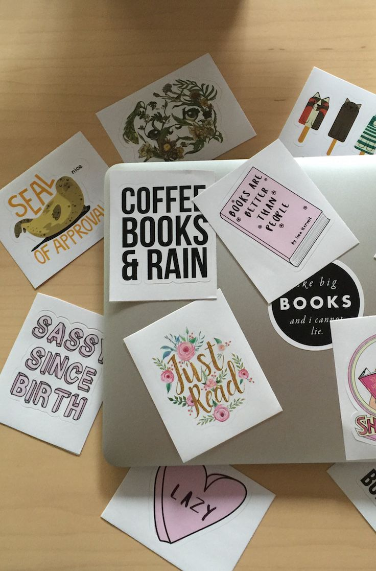 Hipster Books Stickers Laptop Stickers Book Lovers And - Custom vinyl stickers easy peel off