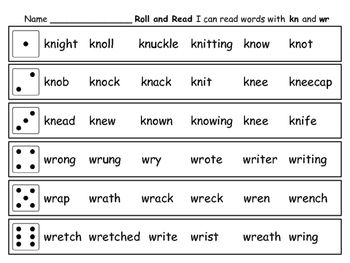 Word Work Silent letters kn and wr 2 Games Roll the dice and read ...