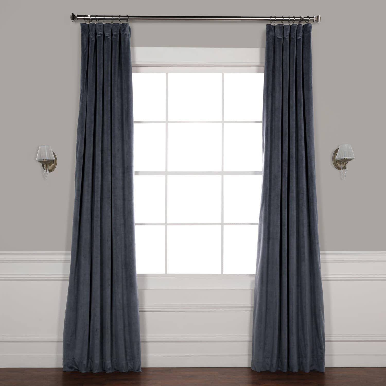 Signature Distance Blue Grey Blackout Velvet Curtain Velvet Curtains Half Price Drapes Linen Blackout Curtains