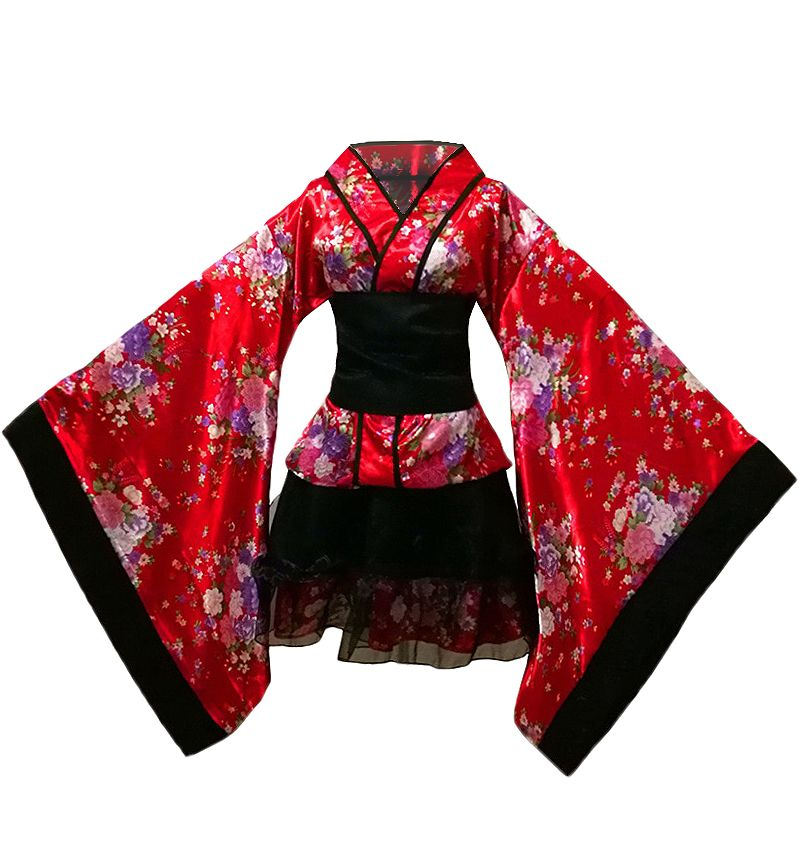 Japanese Anime Noir Traditionnel Furisode Kimono Robe Cosplay costume Set