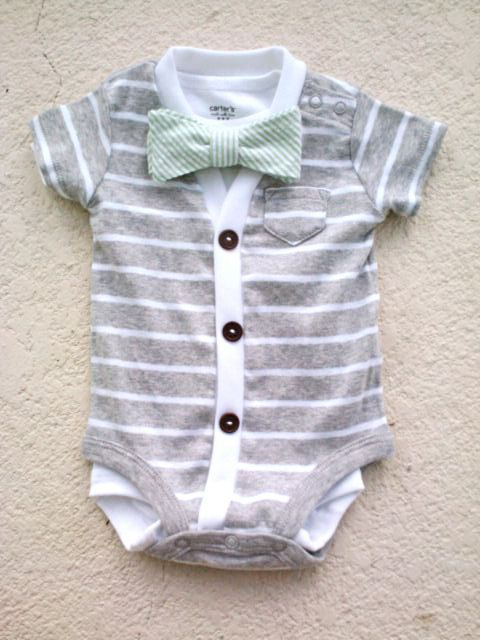 38ff113788919 Cardigan and Bow Tie Onesie Set Grey with Mint Green by HaddonCo, $40.00
