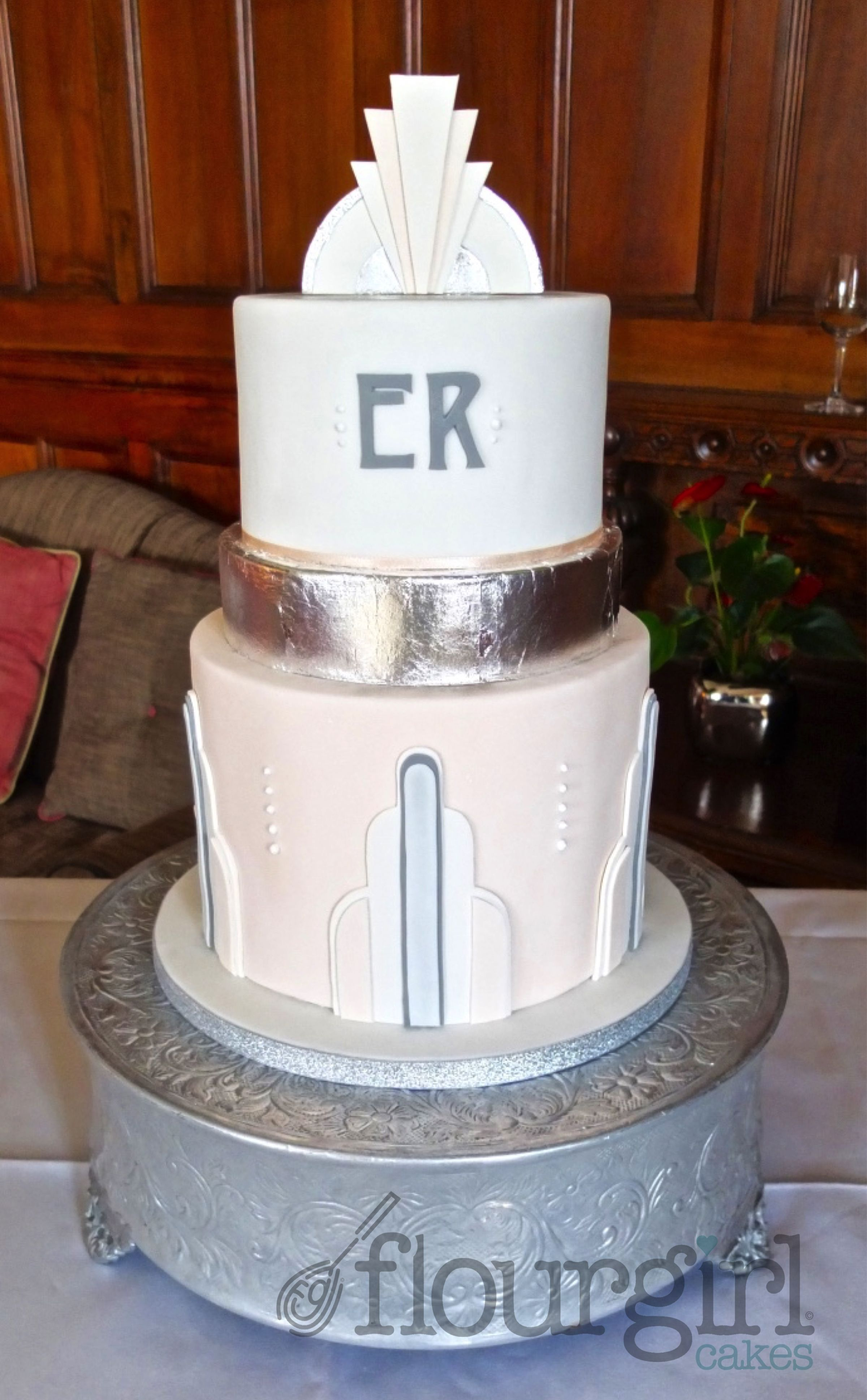 Art Deco Wedding Cake. Art Deco Cake. Silver Leaf Wedding Cake ...
