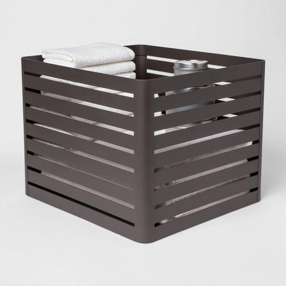 Large Slatted Metal Bin With Mesh Bottom Charcoal 11 X13 Project 62 Metal Storage Bins Mesh Bottoms Cube Storage