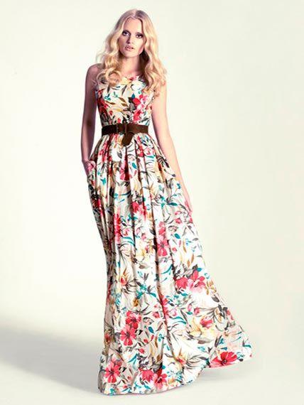 Vestido para invitadas estampado de flores detalle en cintura ...