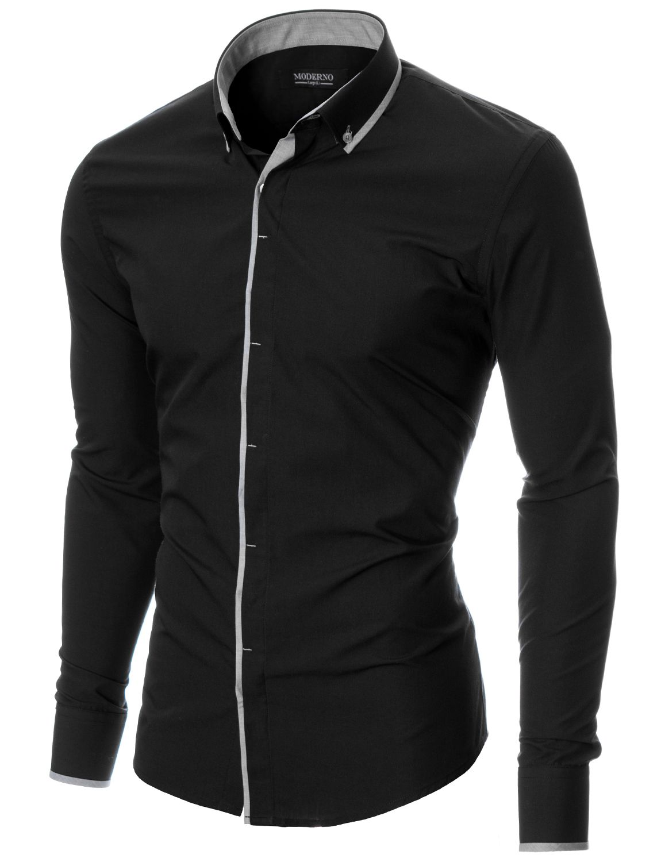 Мъжка риза с контрастен кант на канона (MOD1445LS) черна · CamisasCamisas  Casuales Para HombresRopa ... e6fa05439ba