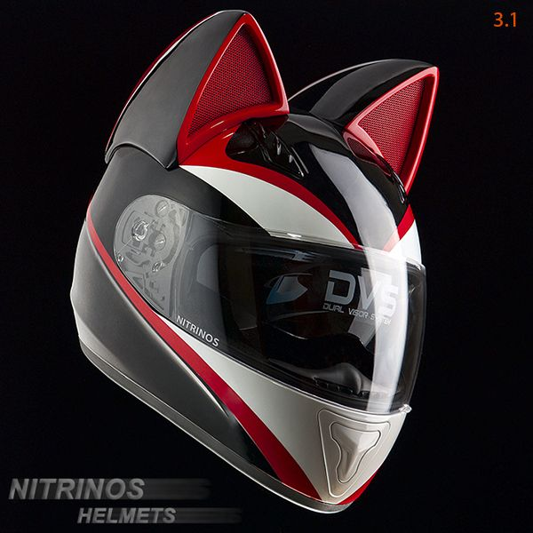 Cute Cat Shaped Motorcycle Helmets Come With Fiberglass Ears