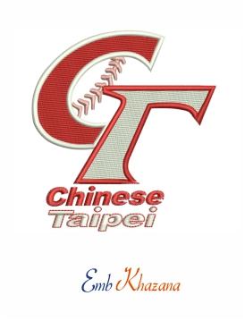 Chinese Taipei Baseball Embroidery Design Chinese Taipei Embroidery Designs Baseball Design