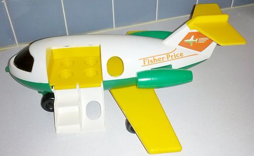 Vintage 1980 Fisher Price Little People Airplane White Yellow & Green