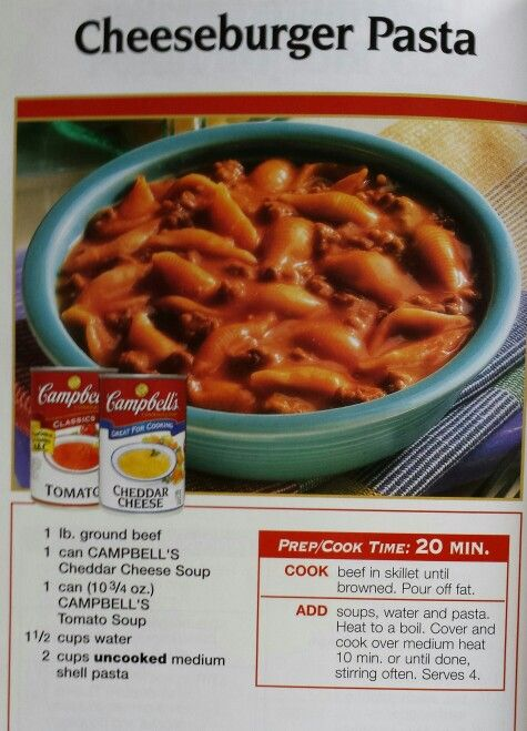 Cheeseburger Pasta Cheeseburger Pasta Cheese Soup Recipes Campbells Soup Recipes