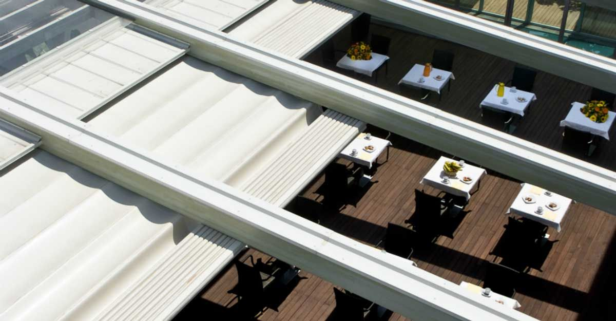Corradi Usa System Summer Shade Structures In Austin Tx Abc Blind Drapery Roof Repair Roof Design Pergola On The Roof