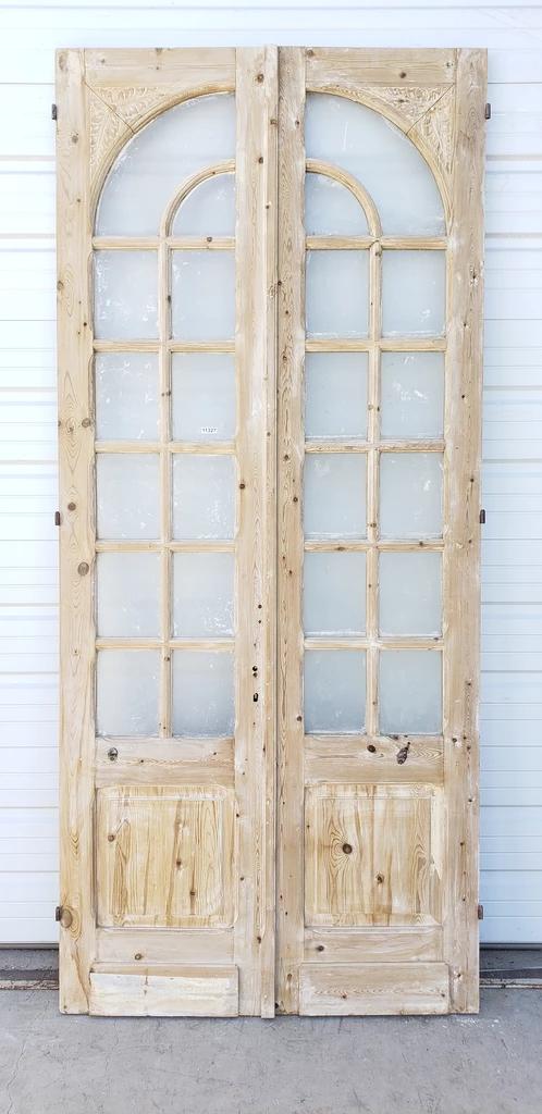 Pair Of 12 Lite Washed Wood Doors Wood Doors Wood Doors Interior Arched Barn Door