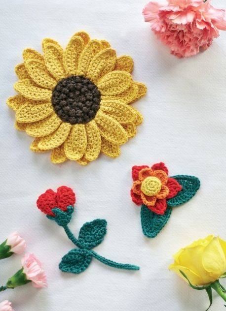 Crochet Flowers - Free Knitting Patterns - Homewares Patterns ...