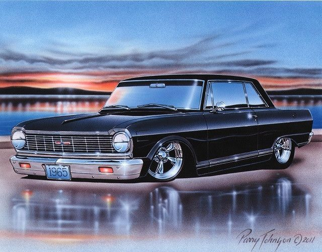 1965 Chevy II Nova 2 Door Hardtop Classic Car Art Print 11×14 Poster