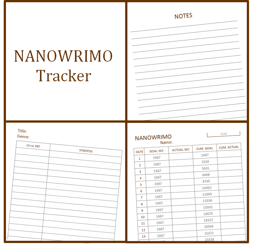My Life All In One Place Download A Free Nanowrimo Tracker Printable