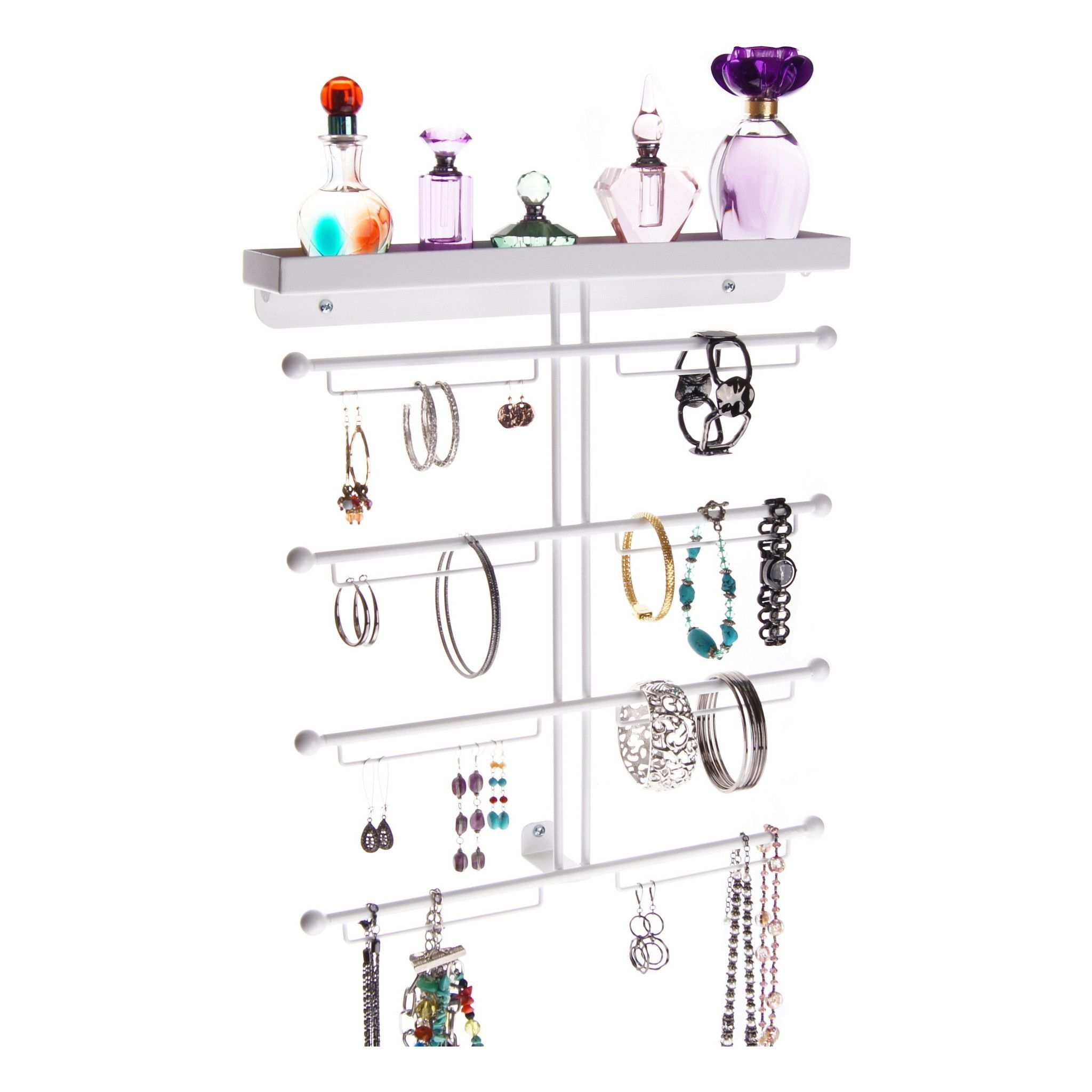 The Carol Jewelry Organizer is a unique hanging wall mount metal