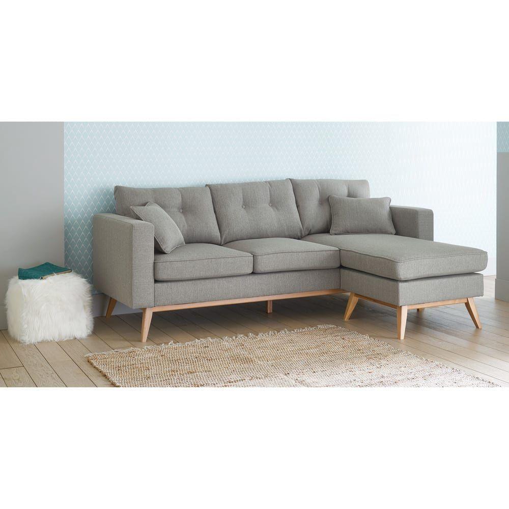 Canape D Angle Style Scandinave 4 5 Places Gris Clair Sofas En Esquina Sofas Diseno Sofas Modulares