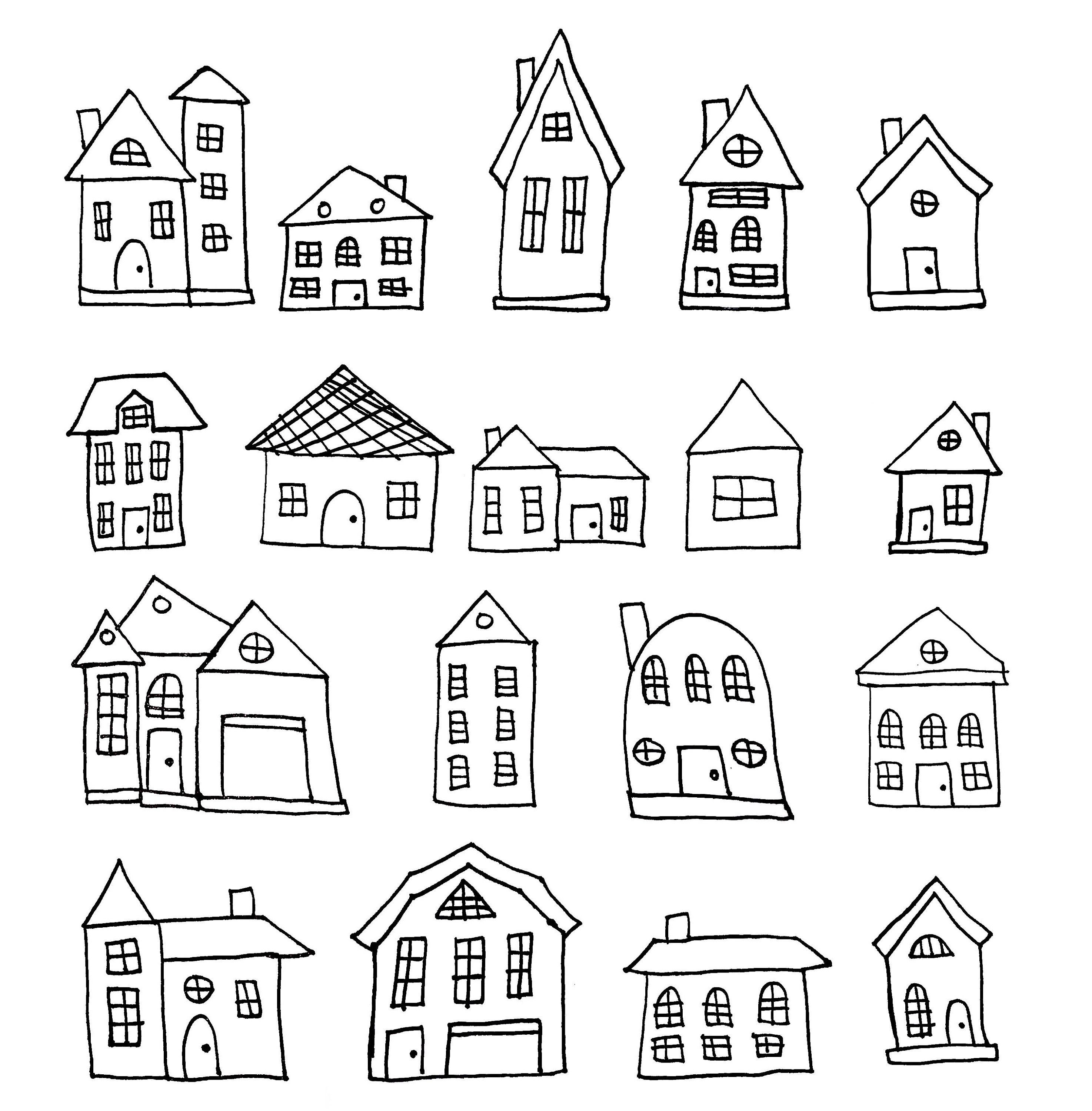 Black White Houses Clipart Set Png Hand Drawn Houses Doodles Cute Houses Personal Use Commercial Use Instant Download House Doodle House Clipart How To Draw Hands