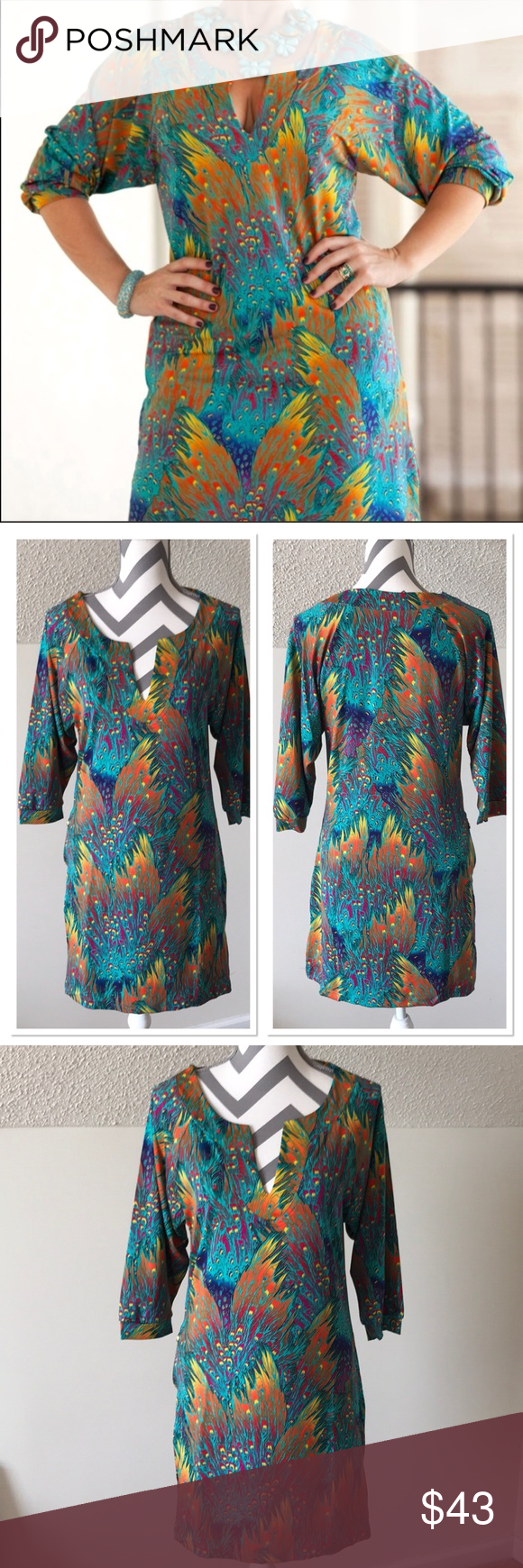 Multicolored Shift Dress W Feather Design Gorgeous Colors For Fall Color Pea Crazy 3 4 In Sleeves With Elastic Zippered Pocket On One Side Large
