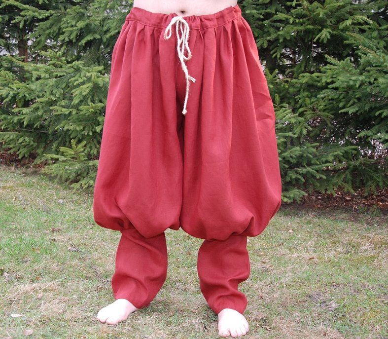 Rus Viking trousers from linen- dark red $60   Barbarian