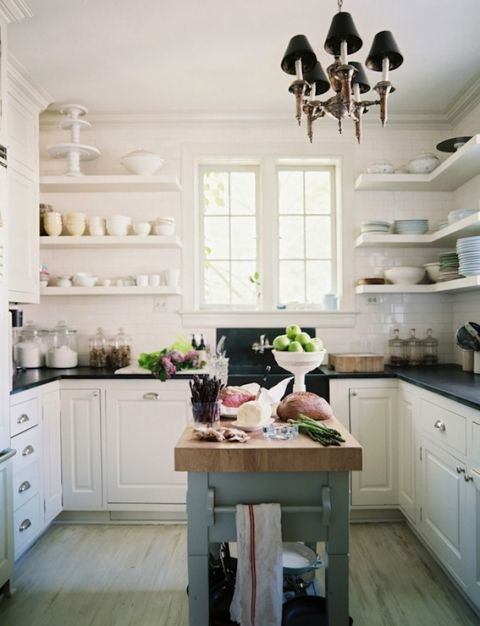 U Shaped Kitchen Layout With Open Shelving Via Decorpad Open