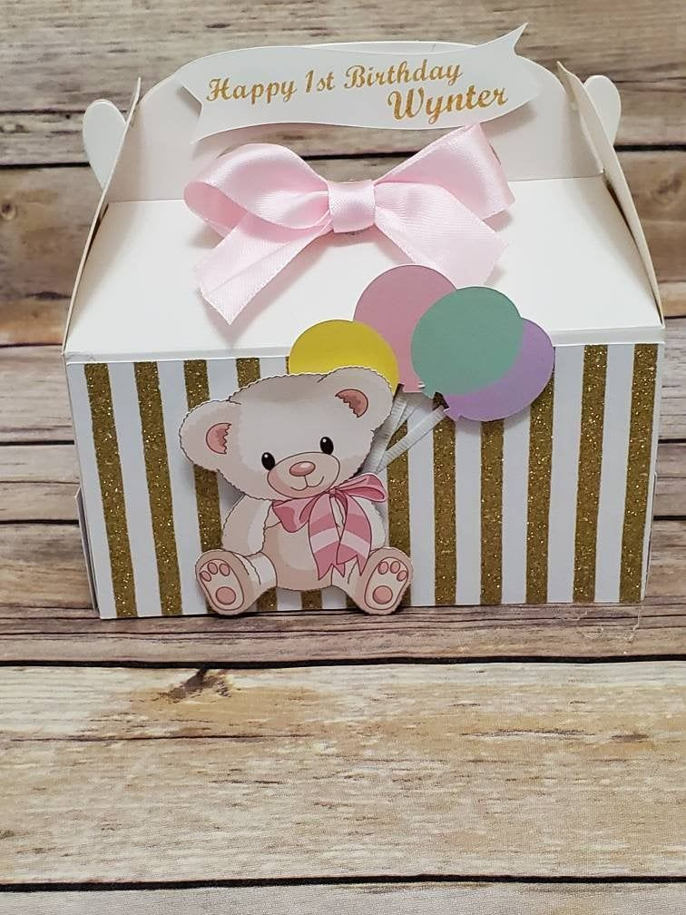 Teddy Bear Pastel Gable Boxes, Pastel Themed Birthday