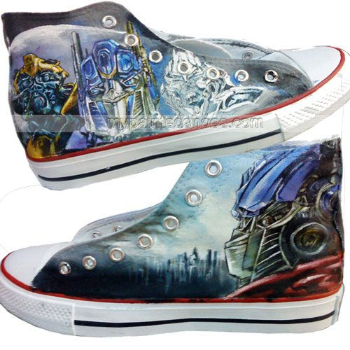 57f2f0db6f Transformers Sneakers Handcraft Painting Shoes High-top Painted Canvas