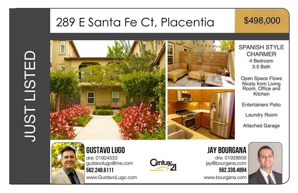 Welcome to 289 Santa Fe Court! Placentia Mediterranean Charmer ALERT!!! This is the ONE that you have been waiting for. From the moment that you arrive, you will love the lush green common courtyard; curb appeal, and relaxing back porch! This stylish home has a large upgraded kitchen, four large bedrooms, and hardwood floors throughout the first floor. The large living room is integrated with the dining area, making entertaining a breeze!