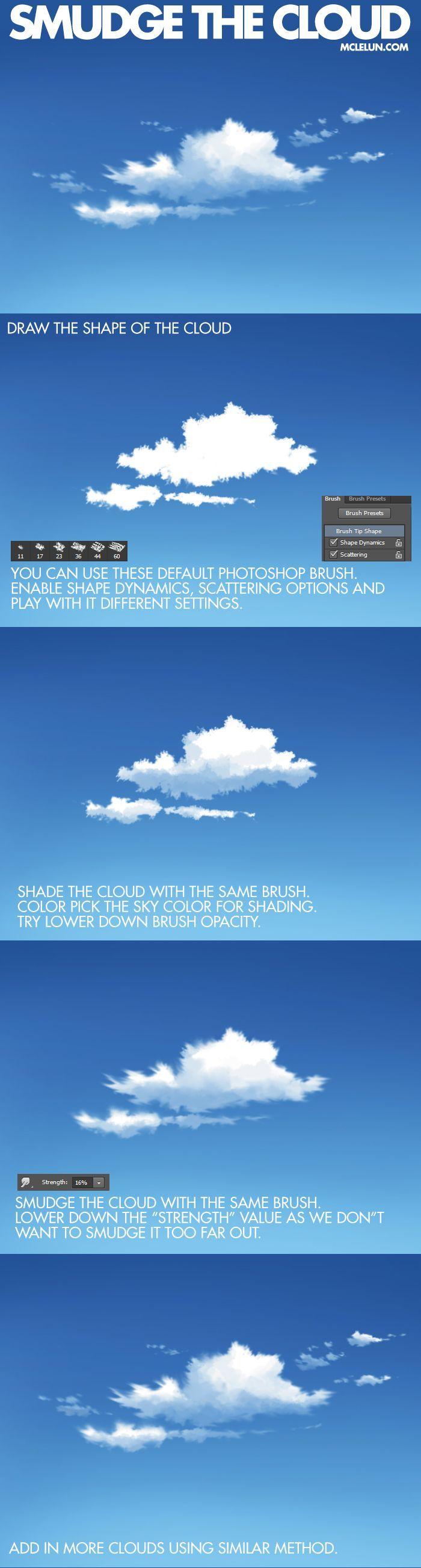Photoshop Brush Settings For Anime Cloud Painting Digital Painting Digital Painting Tutorials Digital Art Tutorial
