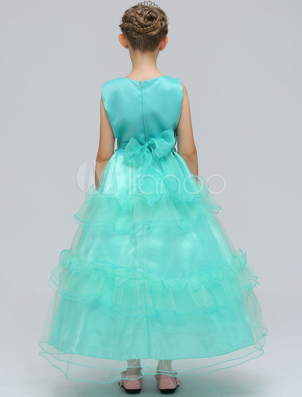 1fe19f409a8a Flower Girl Dresses Mint Green Kids Lace Sash Sleeveless Tiered A Line  Ankle Length Formal Party