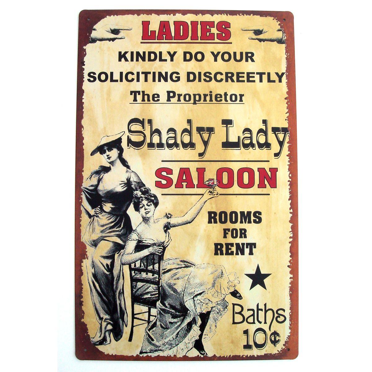 SHADY LADY SALOON western street girls VINTAGE TIN SIGN | Vintage ...