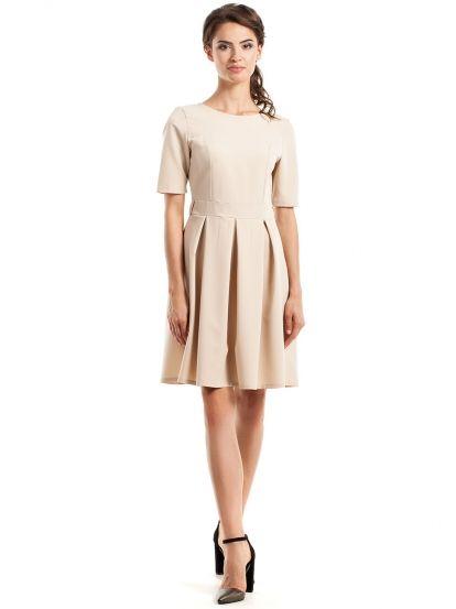 Dámske Šaty S Krátkym Rukávom STYLOVE  dress  beige  pleat  champagne   short sleeve  women fashion 161feda162d