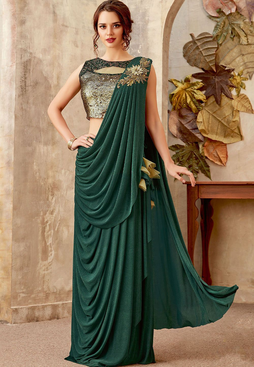 Buy Bottle green designer party wear saree in UK, USA and