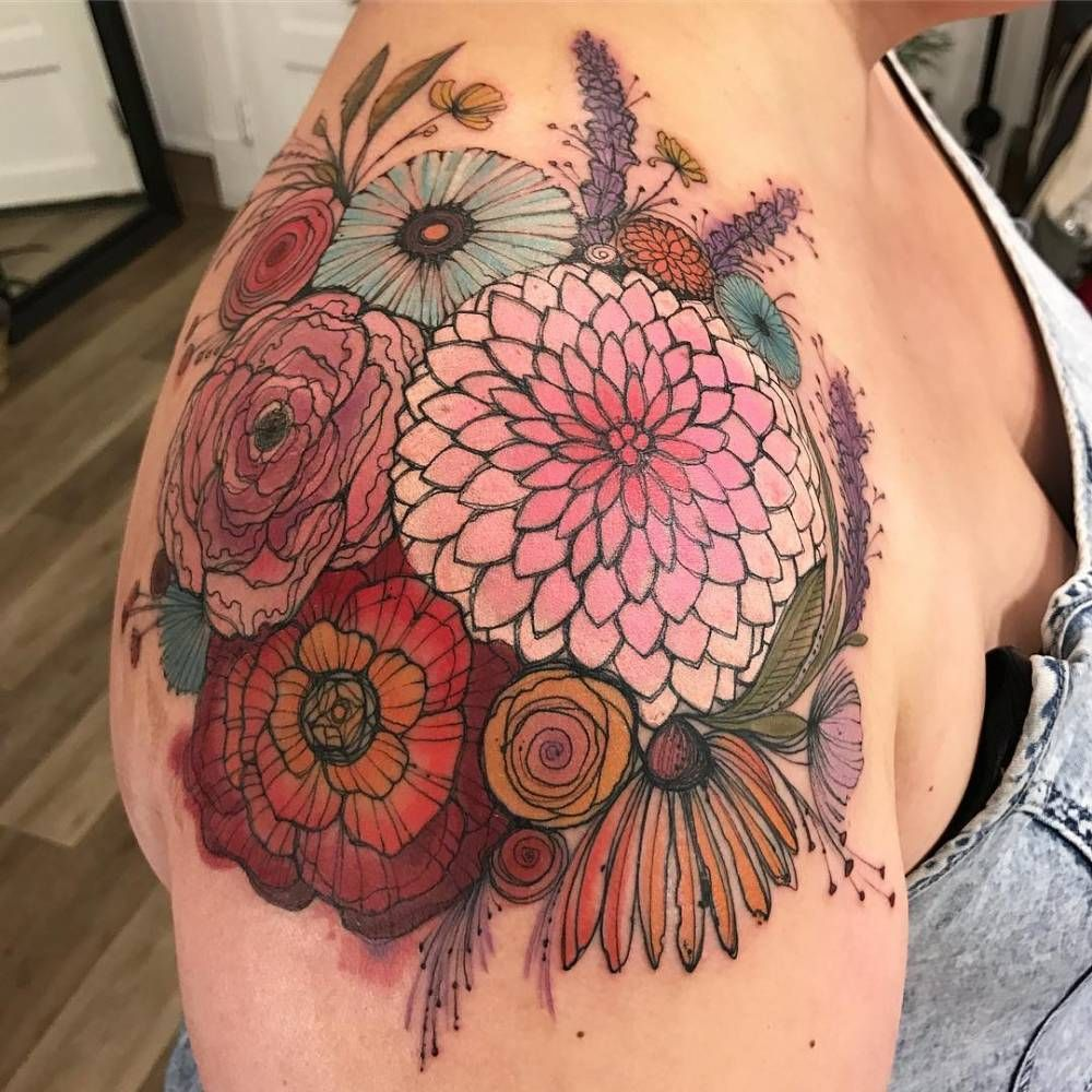 Flower Bouquet On The Right Shoulder Tattoo Artist Dino