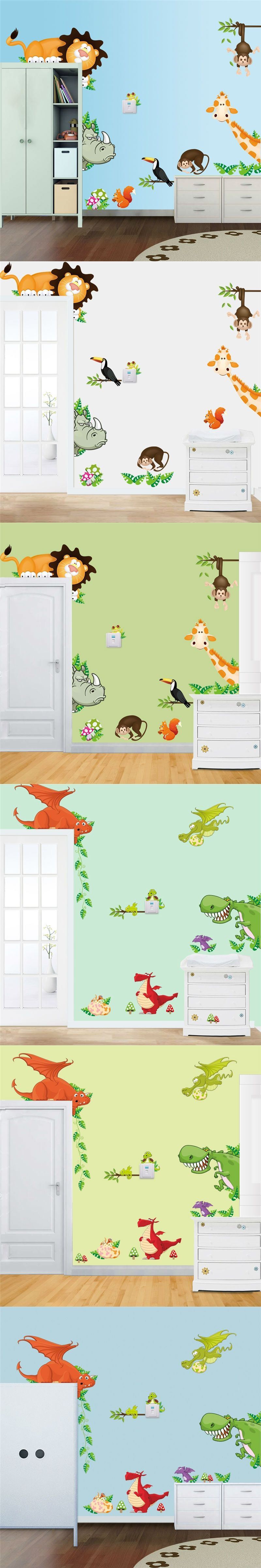 animals 3d wall stickers for kids room decoration diy cartoon lion ...