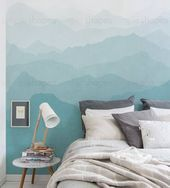 Mountain Mural Wallpaper Grayish Mint Winter Mountain Mural Ombre Mountain Extra Large Wall Art Peel and Stick Wall Poster   Unser BilderbuchBerg Wandbild Wandkunst erzeu...