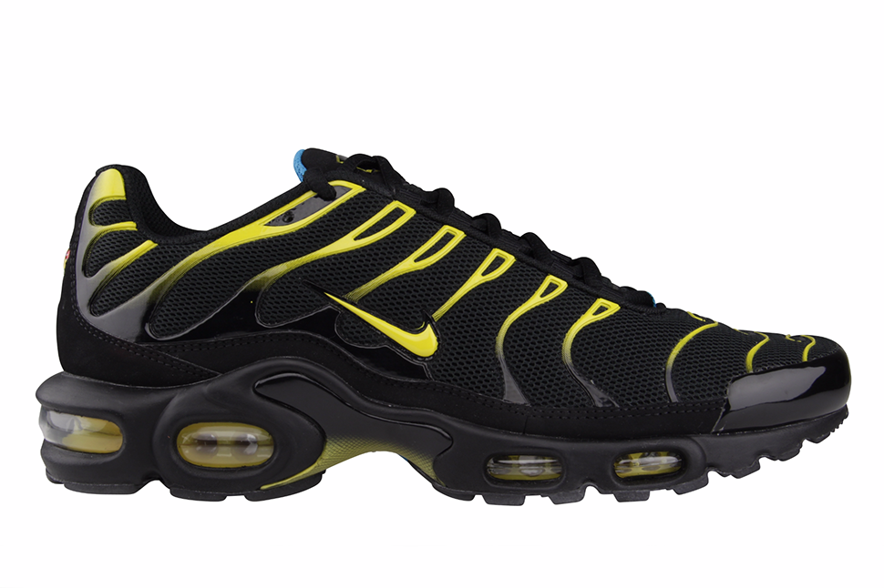 NIKE AIR MAX PLUS TUNED 1 TN AIR - BLACK/TOUR YELLOW/DYNAMIC BLUE | My  Kicks | Pinterest | Air max, Nike shoe and Clothing