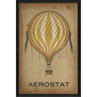 The Artwork Factory Aerostat Hot Air Balloon Framed Graphic Art Color: Yellow
