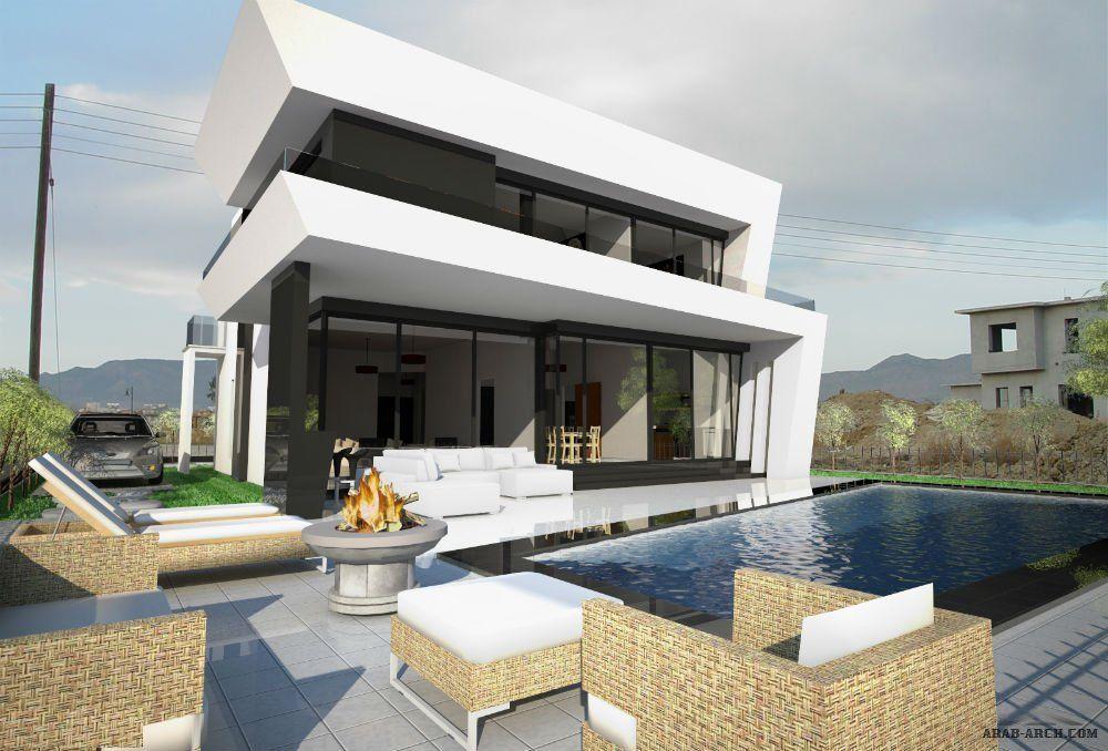 تصميم لفيلا مودرن اوربية تحتوى على مسبح و حديقة House Styles House Home