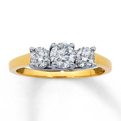 14K Yellow Gold 1 Carat t.w. Three-Stone Diamond Ring