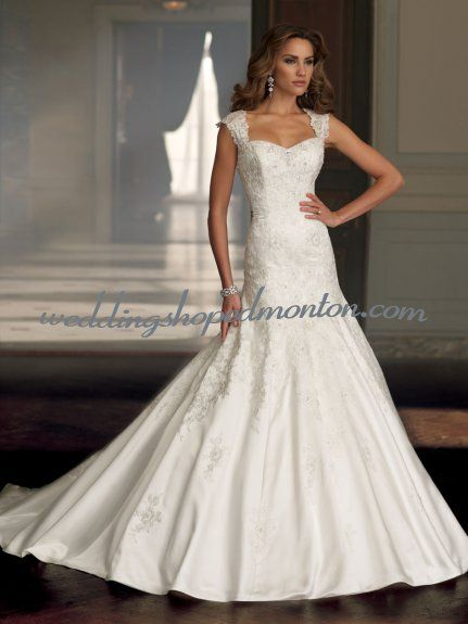 Gorgeous Satin Bridal Gown With Lace Applique - $222.06 : Wedding ...