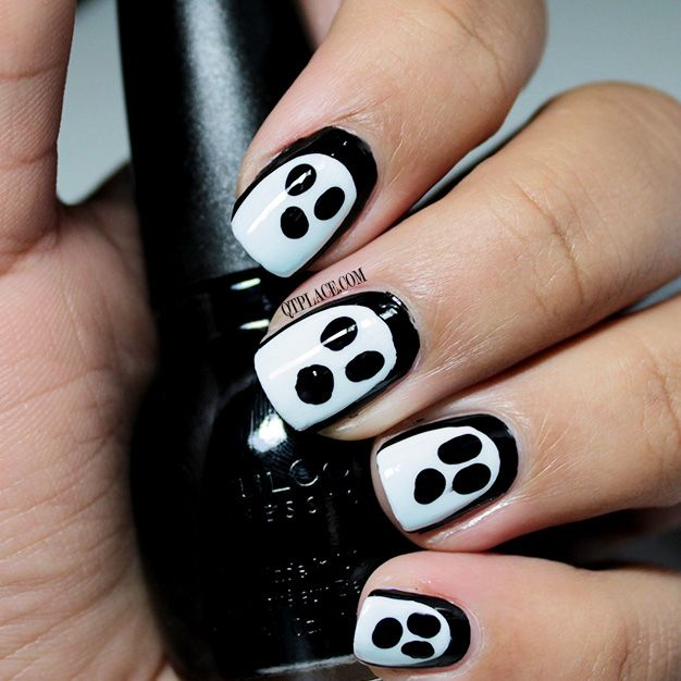 Easiest Ghost nail art tutorial - qtplace - Easiest Ghost Nail Art Tutorial - Qtplace Nails Pinterest