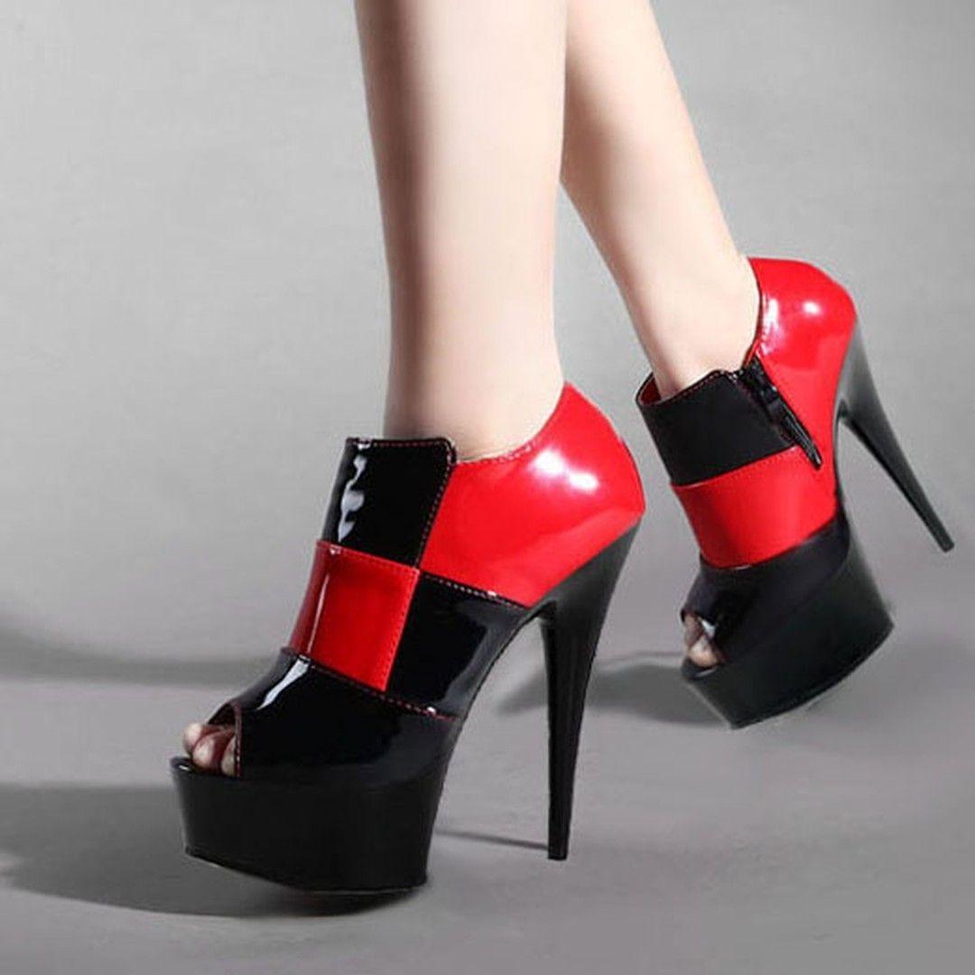 783da04d28 Peep Toe Stiletto Heel High Platform Ankle Boots | Shoespie Booties ...