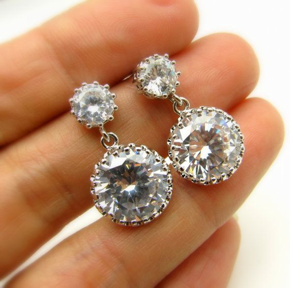 bridesmaid jewelry: round cz drop earrings