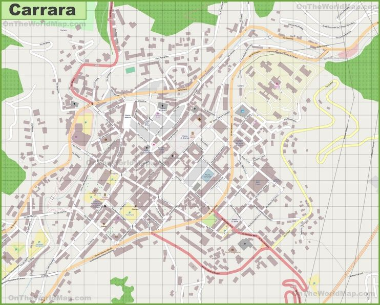 Large detailed map of Carrara Maps Pinterest Carrara Italy