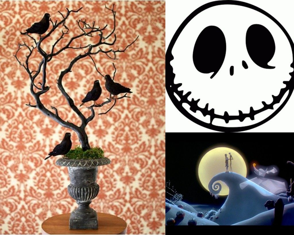 How to make christmas centerpieces with ice - The Nightmare Before Christmas Centerpiece Foam Balls With Jacks Face Drawn On Them Make The Curly Hill Add Dry Ice Somehow