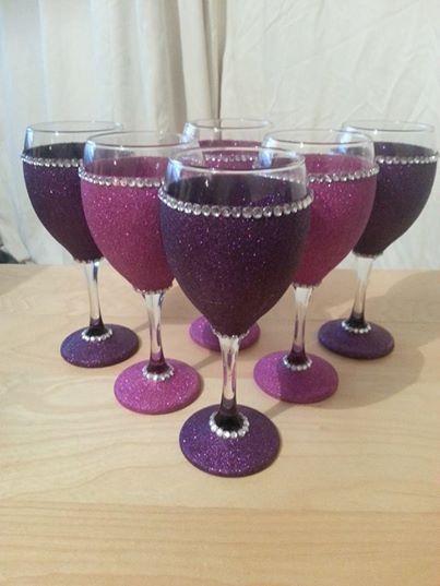 4 pink and purple glitter wine glasses diy pinterest for Wine bottle glasses diy
