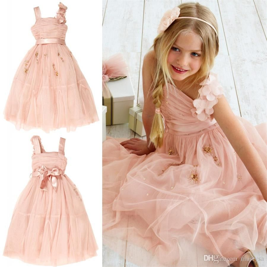 Beauty Light Pink Tulle Flower Girl Dresses Wedding Gowns Beaded Sequins Tea Length Bow Sash Little Girls Pageant Dress 2015 Cheap